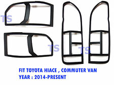 Matte Black Head + Tail Lamp Light Cover Trim For Toyota Hiace Commuter 2015 16
