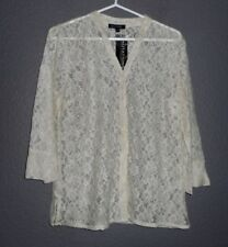 Notations Button Front, Cream Lace sz Small, 3/4 sleeve  NWT