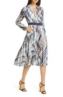 Ted Baker Lilis Quartz Long Sleeve Pleated Dress sz 5 (US 14)