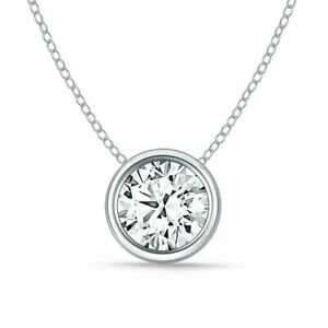 1 1/2 ct. White Sapphire Bezel Slider Necklace in Solid Sterling Silver