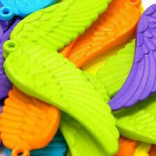 """Lot of 30 Big 2 1/4"""" Long Plastic Acrylic Assorted Color Angel Wing Drop Charms"""