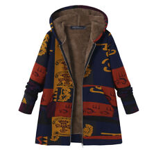 UK Women Fluffy Fur Zipper Hooded Floral Coat Jacket Ladies Warm Parka Overcoats