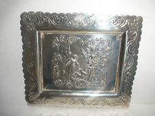 ANTIQUE CONTINENTAL  SILVER COIN OR KEY TRAY  PEOPLE SCENE