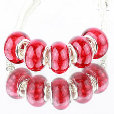 Bling plaid red 5pcs MURANO bead LAMPWORK For European Charm Bracelet
