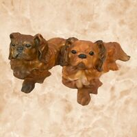 Set of 2 Pekingese Dog Ceramic Pieces Figurine Collectible Status Vintage 70s