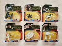 LOT of 6 HOT WHEELS STAR WARS STARSHIPS WITH STANDS Millenium Falcon AT-AT XWing