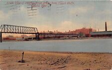 COUNCIL BLUFFS NEBRASKA VIEW OF DOUGLAS ST BRIDGE IN OMAHA POSTCARD 1922 PSTMK