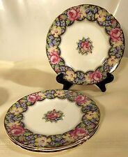 "Set of Four Paragon ""Gingham Rose"" Pattern HM Queen Mary 6 1/4"" Dessert Plates"