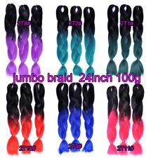 "24"" Ombre Kanekalon Jumbo Braiding Crochet Yaki Twist Synthetic Hair Extensions"