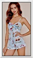 """NWT """"LARGE"""" FOREVER 21 Beach ROMPER 1-piece Shorts CLASSIC LT BLUE FLORAL Cotton"""