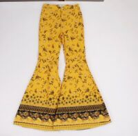 NWOT Free People Denim Just Float On Flare Jeans Yellow Printed Mustard Combo
