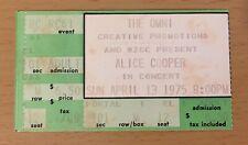 1975 ALICE COOPER ATLANTA CONCERT TICKET WELCOME TO MY NIGHTMARE TOUR EIGHTEEN