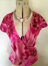 Ladies Silk Monsoon Floral Pink Crossover Blouse Shirt Top UK12 EUR40 Orig.£55