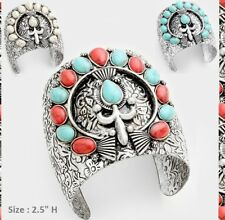 Statement Bracelet Cuff Metal Aztec Tribal Pattern Stone Flower Floral Oval Wide