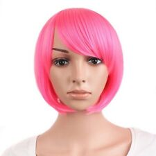 Perruque coupe Rose frange Court Mode Chaud Rose Costume perruque Diagonale Bang