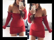 UK Women Frill Bardot Off Shoulder Jumper Ribbed Long Sleeve Crop Top Knit Dress