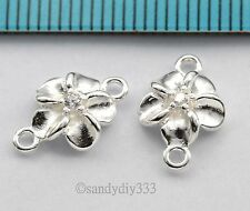 2x BRIGHT STERLING SILVER CZ CRYSTAL FLOWER LINK SPACER CONNECTOR BEAD 8mm #2750