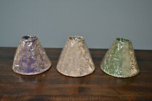 """Two's Company Lamp Shades 4.5"""" Tall Silver Thread Scroll Work"""