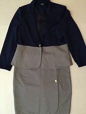 STEVE HARVEY suit Women`s set skirt and jacket Size L fashion  casual strips