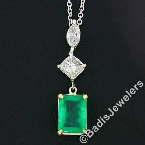 14k TT Gold 2.30ct GIA Emerald Marquise Princess Diamond Dangle Pendant Necklace