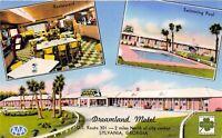 Sylvania Georgia 1950s Postcard Dreamland Motel Restaurant Swimming Pool