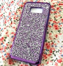 For Samsung Galaxy S8 - Hard TPU Rubber Phone Case Crystal Diamond Studs PURPLE