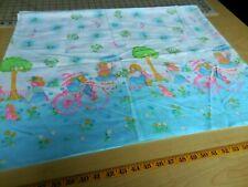 1 1/2+Y Vintage Retro Curtain Fabric 44W Little Girl Bonnet + 2 Scrap Pcs.  #377