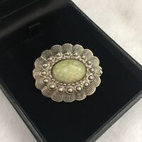 Vintage Brooch Celtic Revival Arts & Crafts Silver Toned Pin Green Agate Stones