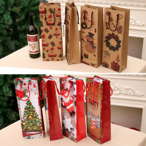 Dinner Party Xmas Table Decoration Wine Bottle Cover Gift Bag Christmas Santa