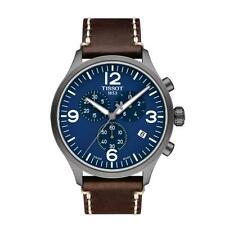 BRAND NEW TISSOT CHRONO XL BLUE DIAL BROWN LEATHER STRAP: T116.617.36.047.00