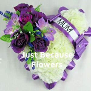 Artificial flowers Grave tribute Funeral Wreath Heart Nan Mum Aunt Dad Son