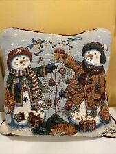 Longaberger Snowfriends Tapestry Pillow 18� X 18� New Made In The Usa