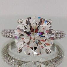 Engagement Wedding Ring In 925 Sterling Silver 4.99 Ct 3 Rows Large Round Cut