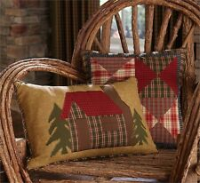 "Park Designs Log Cabin 12"" X 20"" Pillow Cover Cabin Collection Green Plaid Backi"
