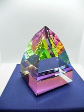 "Swarovski Large Pyramid Paperweight in Vitrail Medium Color ~ 2 3/4"" ~ #010034"