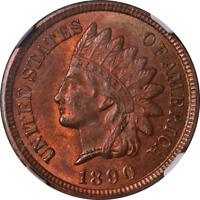 1890 Indian Cent NGC MS64RB Great Eye Appeal Nice Luster Strong Strike