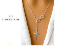 """Women's Fashion Jewelry 925 Sterling Silver Plated Infinity Cross Necklace 18"""""""