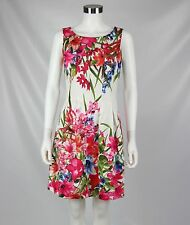 London Times Womens Dress White Pink Floral Print Fit & Flare Summer Size 6
