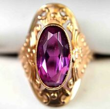 Vintage Russian 14K(583)Solid Gold & 1.4CT Marquise Cut Synthetic Ruby Ring