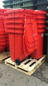 10 x 240 Litre Red Wheelie Bin - German Made - Pallet bundle - Job Lot 10 bins