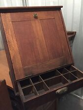 Antique counter display case oak 1 drawer slant front 15d6d23w24h