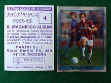 CALCIATORI 1992-93 92-1993 n 4 BARESI SCUDETTO , Figurina Sticker Panini NEW