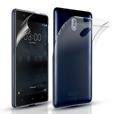 Ultra Slim Clear Silicone Gel Case Cover & Screen Protector for Nokia 8/6/5/3/7