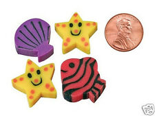 36 Fish Shell Mini Erasers Kid Tropical Luau Party Goody Bag Filler Favor Supply