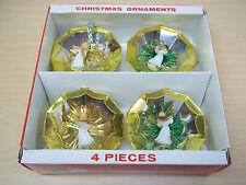 Vintage Set of 4 Jewelbrite 3D Angel Plastic Ornaments - Excellent