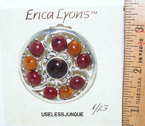 ERICA LYONS ANTIQUE SILVER PLATED MULTI COLOR STONE PIN BROOCH  #423