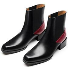 Mens British Real Leather Ankle Boots Shoes Square Toe Chunky Party Formal Warm