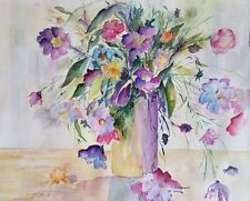 """Suzanne Obrand, Holocaust Survivor, Watercolor Painting """"Spring Flowers"""""""