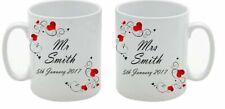 PERSONALISED MR AND MRS MUGS SET WEDDING ANNIVERSARY ENGAGEMENT GIFT COFFEE TEA