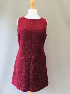 HOBBS Pinafore Dress Wool Silk Sleeveless Tweed Pockets 16 Drop waist Mod 60's